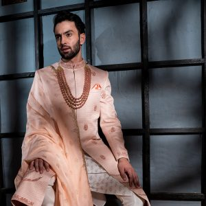 Quilted Sherwani with accessories