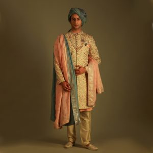 Multicoloured sherwani with accessories