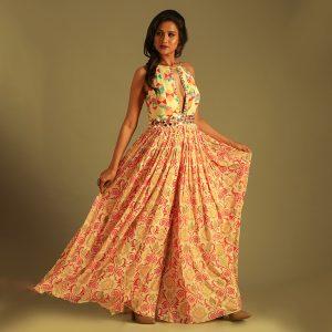 Printed Multi colored Anarkali