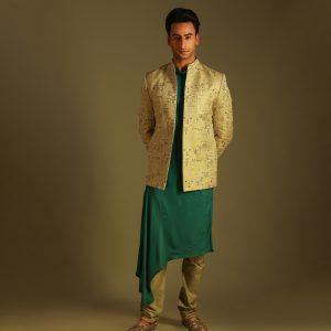Long jacket with drape kurta