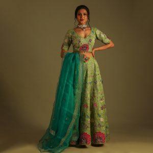 Parrot Green Lehenga With matching Dupatta