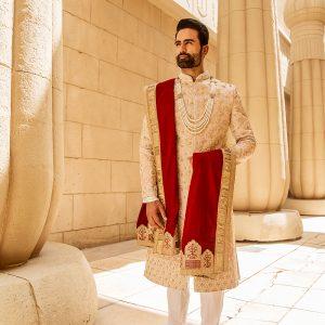 Full zardose sherwani in rose gold colour