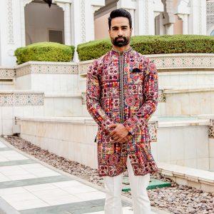 Printed kurta jacket set