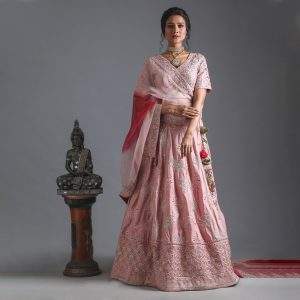 Pure Raw Silk Powder Pink Lehenga