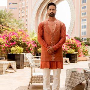 U shaped long jacket with matching kurta