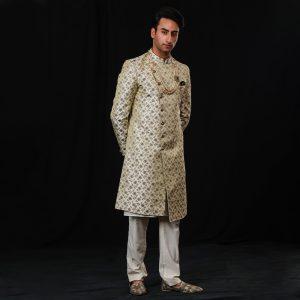 Brocade sherwani with box pants