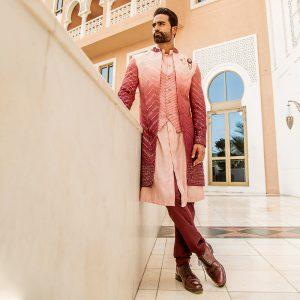 Lucknowi Long jacket with mono tone pants