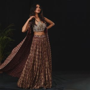 Lehenga With Blouse and Cape