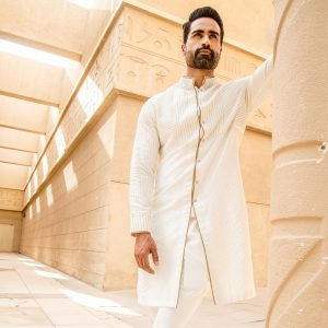Front open handloom silk kurta with pants
