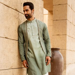 Long jacket open with matching kurta and pants