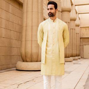 Lemon colour jacket with matching kurta