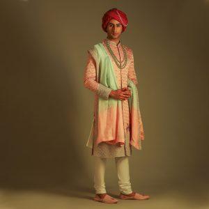 Powder pink sherwani set with accessories