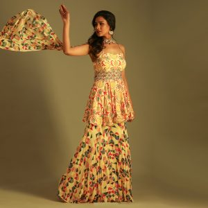 Peplum Top With Skirt and Printed Duppata