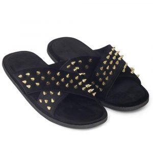 Golden Spiked Roman Slippers