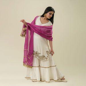 Hand Embroidery Cotton Silk Kurta with Sharara And Kota Dupatta Set of 3