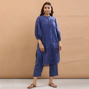 Blue heart kurta with pant-set of 3 <BR> (kurta with pant and separate short slip)