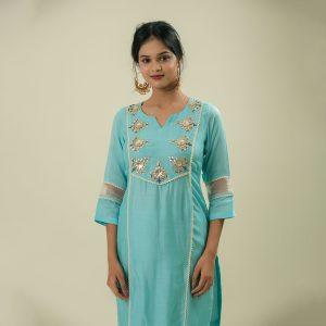 Hand Embroidery Cotton Silk With Gota Kota Dupatta With Gota Detailing Set of 3