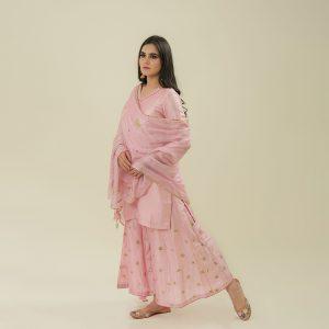 Cotton Silk Kurta And Palazzo And <br>Kota Dupatta With Hand Embroidery Set of 3