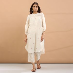 Red heart kurta with pant-set of 3 <BR> (kurta with pant and separate short slip)