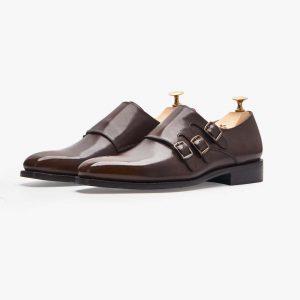 Tallin Burnt Brown Triple Monk Shoes