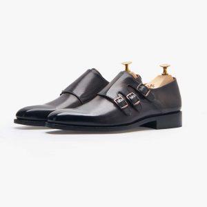 Tallin Smoked Grey Triple Monk Shoes